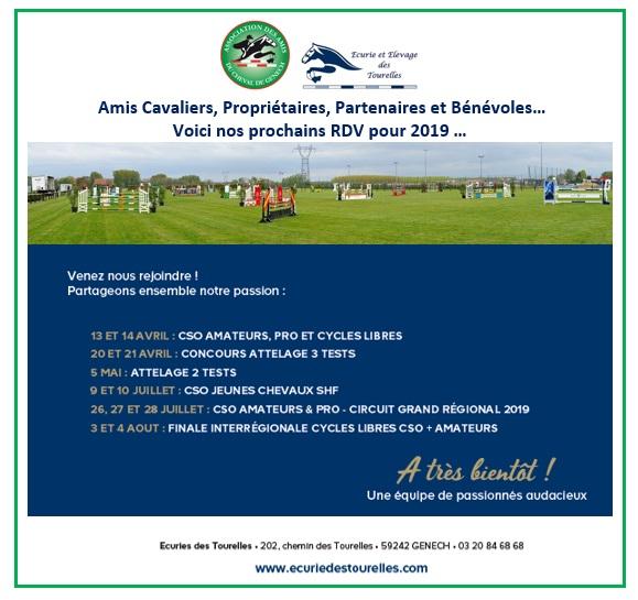 Calendrier Concours GENECH 2019 - Les Amis du Cheval